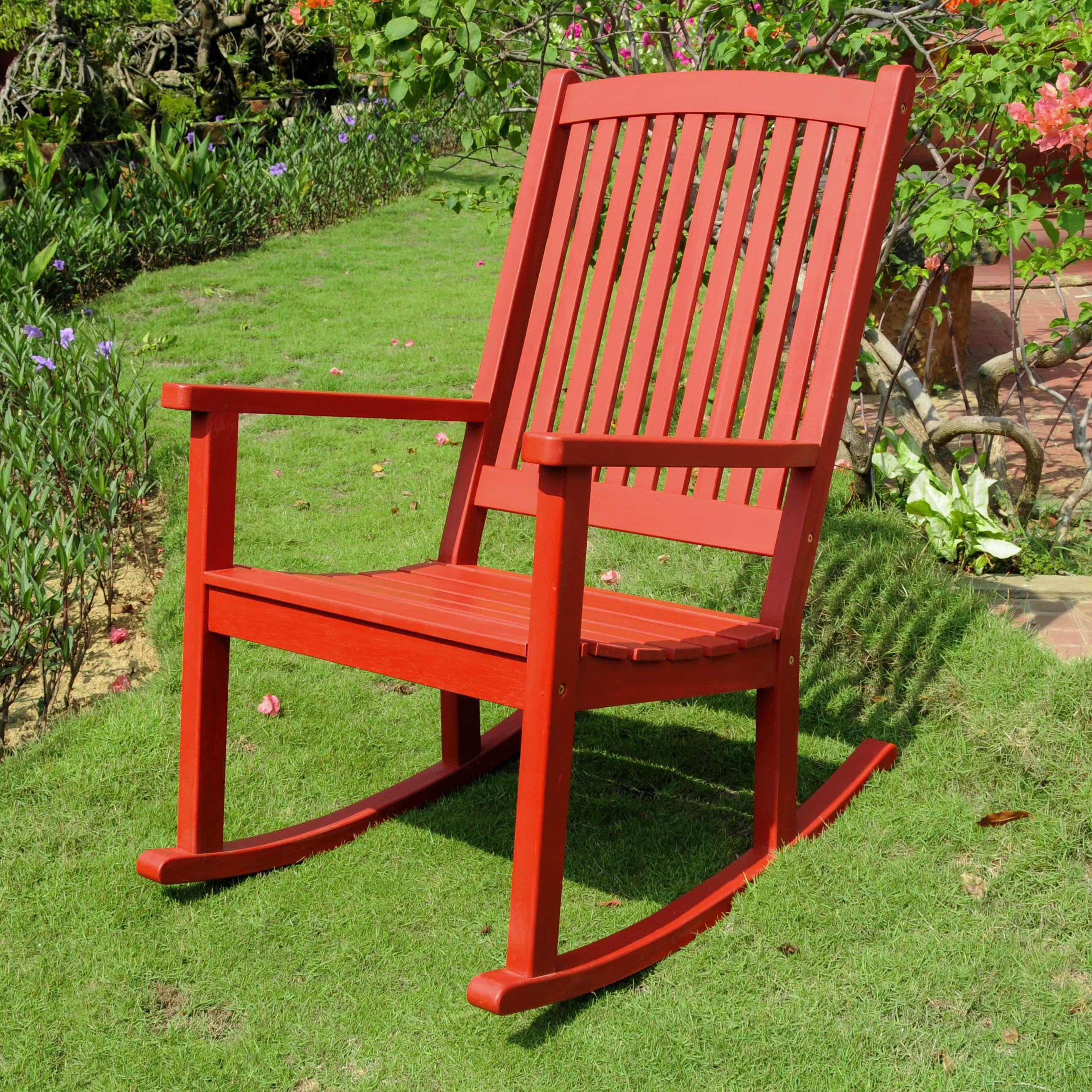 International Caravan Royal Fiji Acacia Porch Rocker (Antique White), Patio  Furniture (Wood)