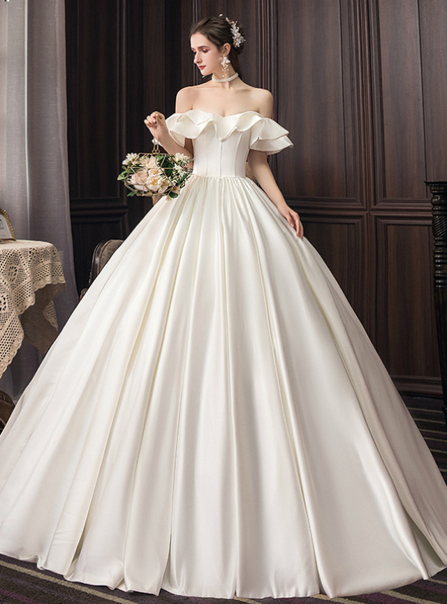 Ivory White Satin Ball Gown Off The Shoulder Wedding Dress Ball Gowns Wedding Ball Gown Wedding Dress Wedding Dresses Satin,Used Wedding Dresses Mn