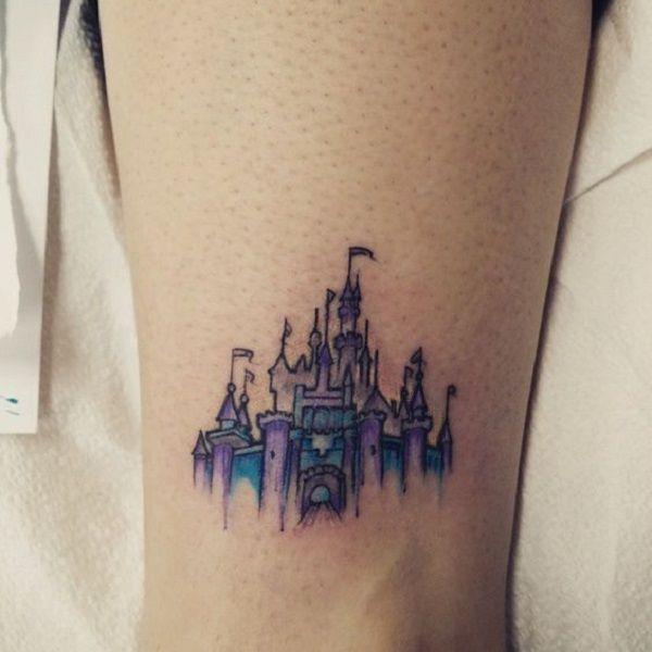 3748c2c59 Blue and Purple Castle. This unique yet attractive blue and purple castle  tattoo is for all those papa's princesses who live the Fairy Tales.
