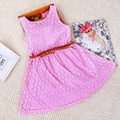 Κορίτσια Καλοκαίρι/Άνοιξη/Φθινόπωρο Μικροελαστικό Λεπτό Αμάνικο Φορέματα ( Βαμβάκι/Δαντέλα ) – EUR € 13.80