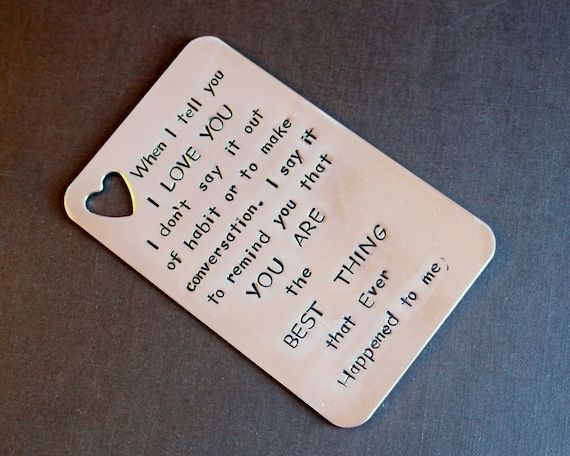 ❤HANDSTAMPED WALLET INSERT CARD, PERSONALIZED WALLET INSERT, GIFT FOR MEN, ANNIVERSARY GIFT, VALENTINES DAY GIFT, WEDDING GIFT.❤ SIZE: SAME AS CREDIT CARD SIZE (2 1/8 x 3 3/8) COPPER ❤❤HOW TO ORDER❤❤ 1. CHOOSE THE CHARACTER LIMIT please count characters without the spaces