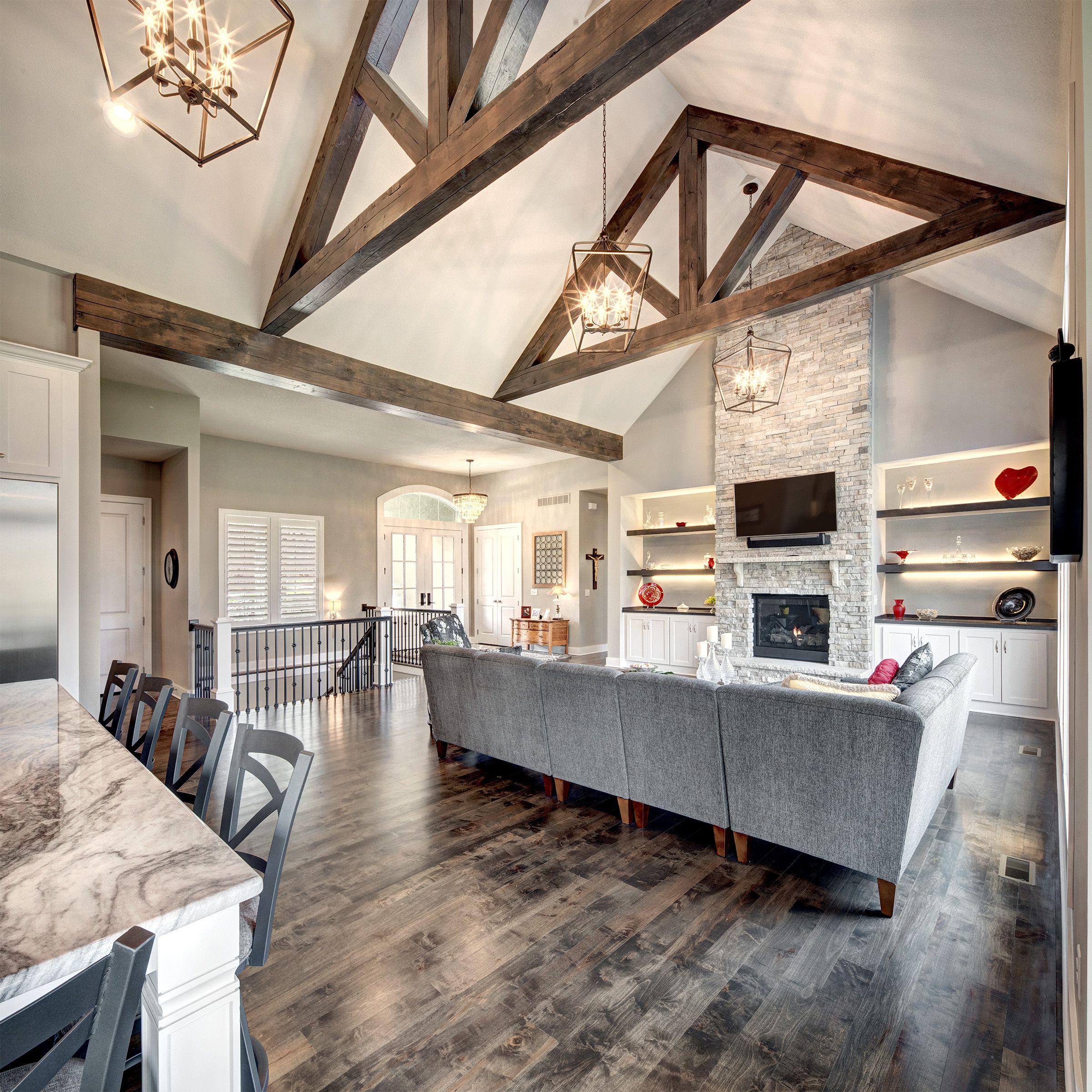 Hearth Room With Wood Beams Farm House Living Room Vaulted Ceiling Living Room Beams Living Room