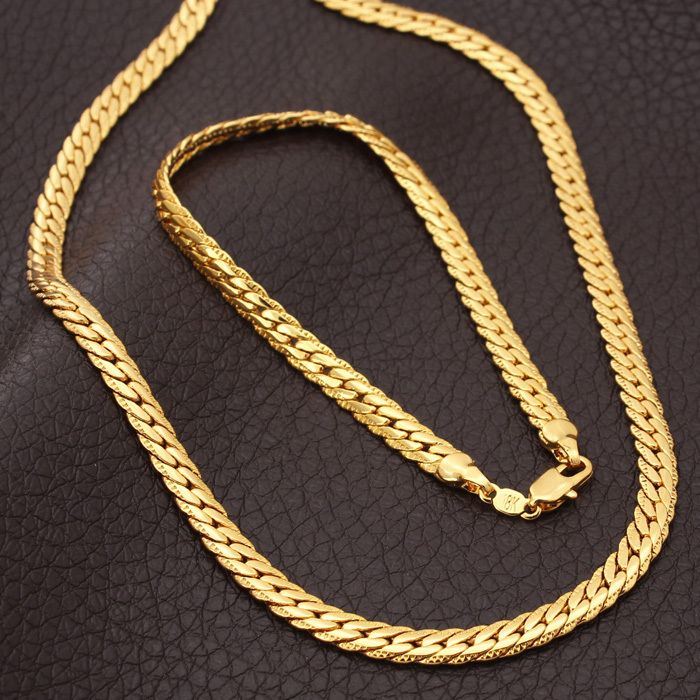 New Trendy 18k Stamp Necklace Set Men Jewelry Whole Real Gold Plated Chain Bracelet African Sets S374