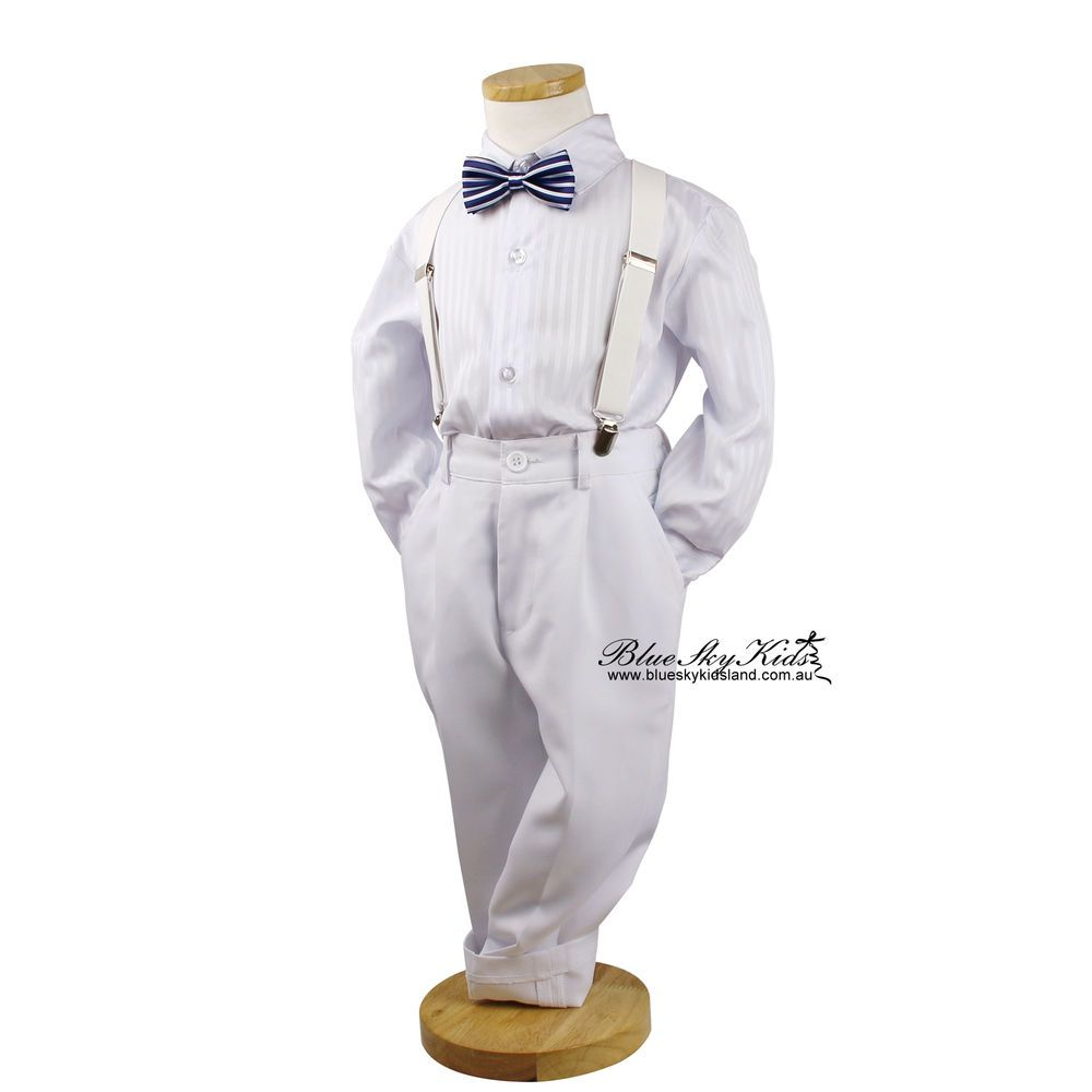 Boys Kids Baby Black Formal Suit Set 4pcs Wedding Christening Suit Size 000-16