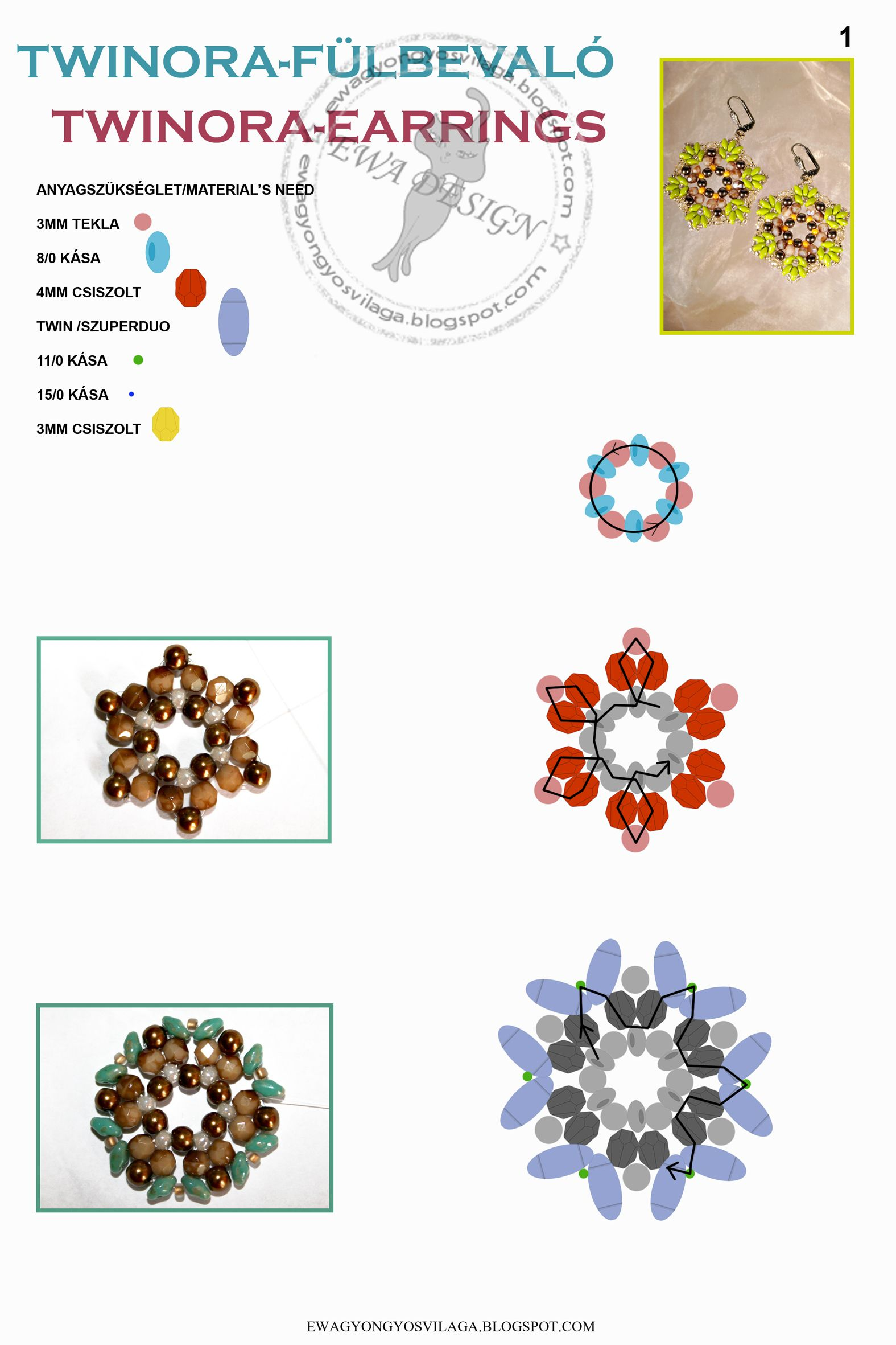 TWINORA Earrings FREE Pattern by Ewa. Use: round beads 3mm (rose), seed beads 8/0 (turquoise), faceted beads 4mm (red), Twin or SuperDuo beads (blue), seed beads 11/0 (green) and 15/0 (dark blue), faceted beads 3mm (yellow). Page 1 of 3
