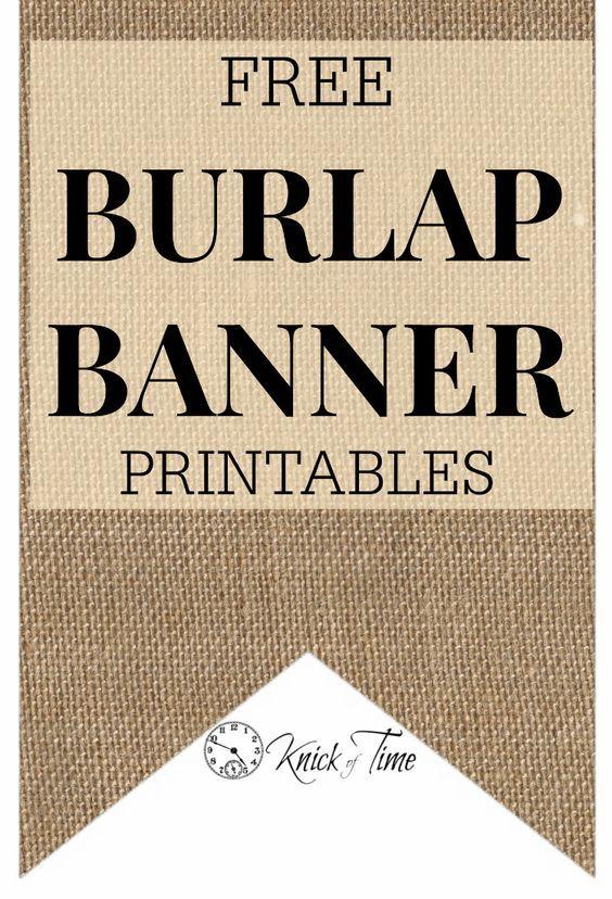 FREE Burlap Banner Printables