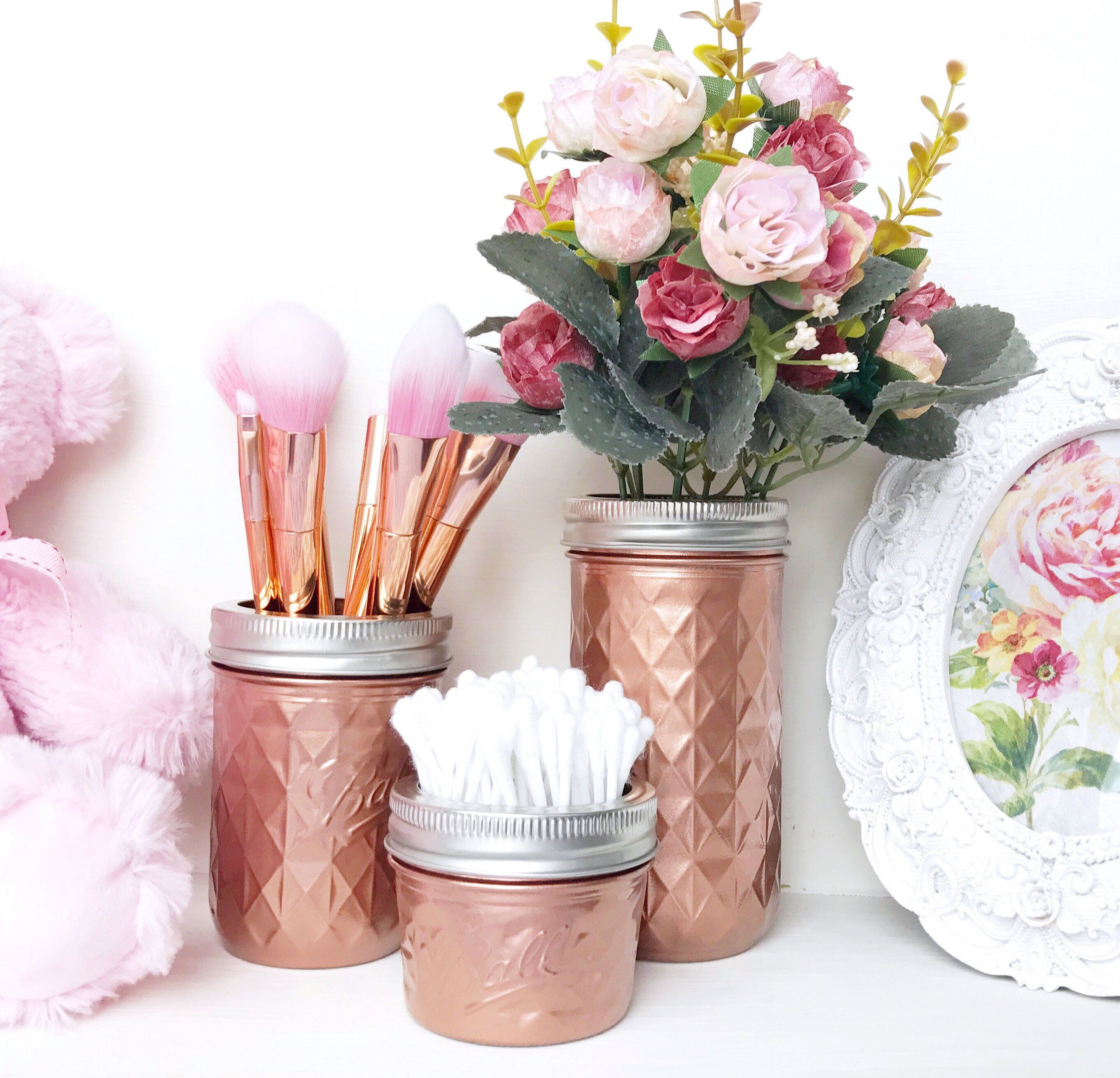 Rose gold makeup brush holder, copper desk accessories