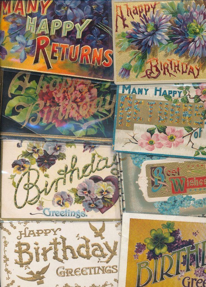 20 ~Large Letter BIRTHDAY ~Happy Birthday Vintage Greetings Postcards Lot-sss31 #greetings