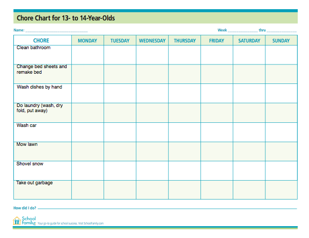 chore chart for teens 13 14 years old free download from schoolfamilycom
