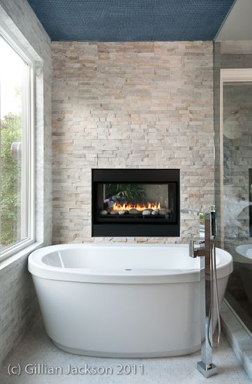 Fireplace feature wall in bathroom built by www for Feature wall bathroom ideas