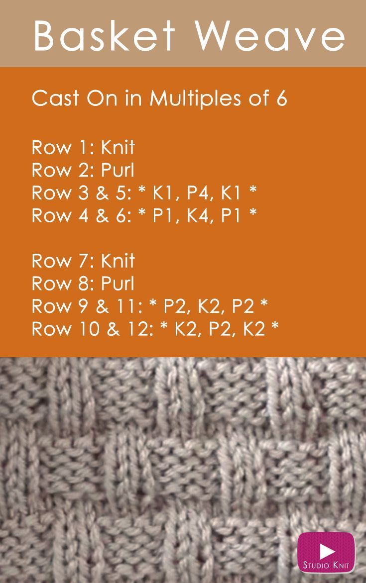 How to Knit the Basket Weave Stitch by | Kuh, Strickmuster und Muster