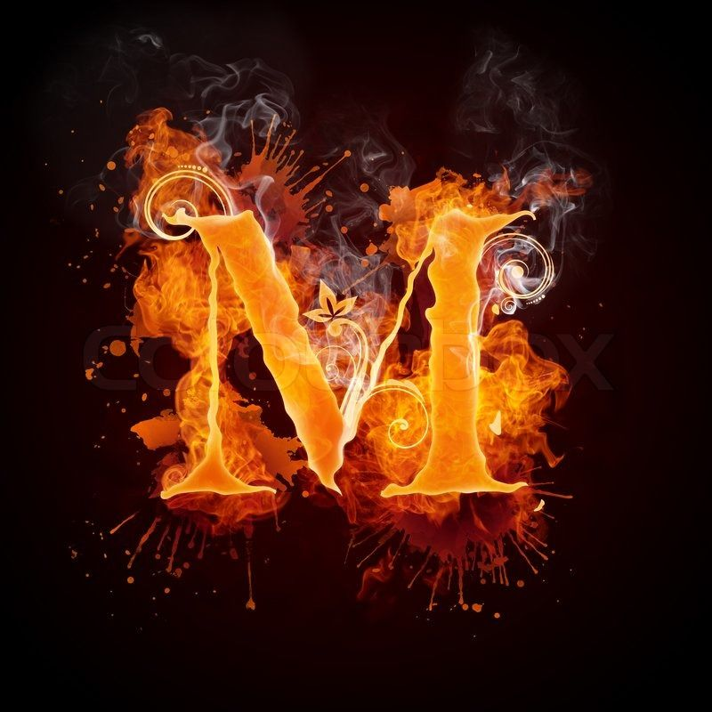 Fire Swirl Letter M Isolated On Black Background