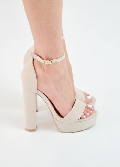 a99ee659ca7 Πέδιλα Ψηλά με Μπαρέτα-Μπέζ | papoutsia | Shoes, Heels και Fashion