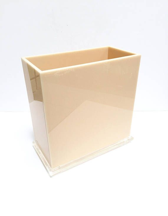 Vintage Lucite Waste Basket Lucite Magazine Holder Peach STM Mood Awesome Lucite Magazine Holder