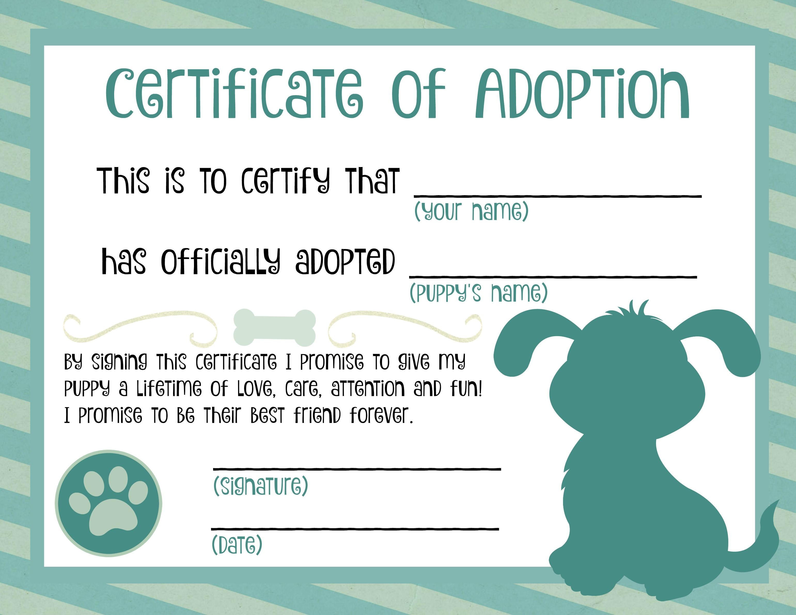 Puppy adoption certificate dog birthday pinterest for Dog certificate template