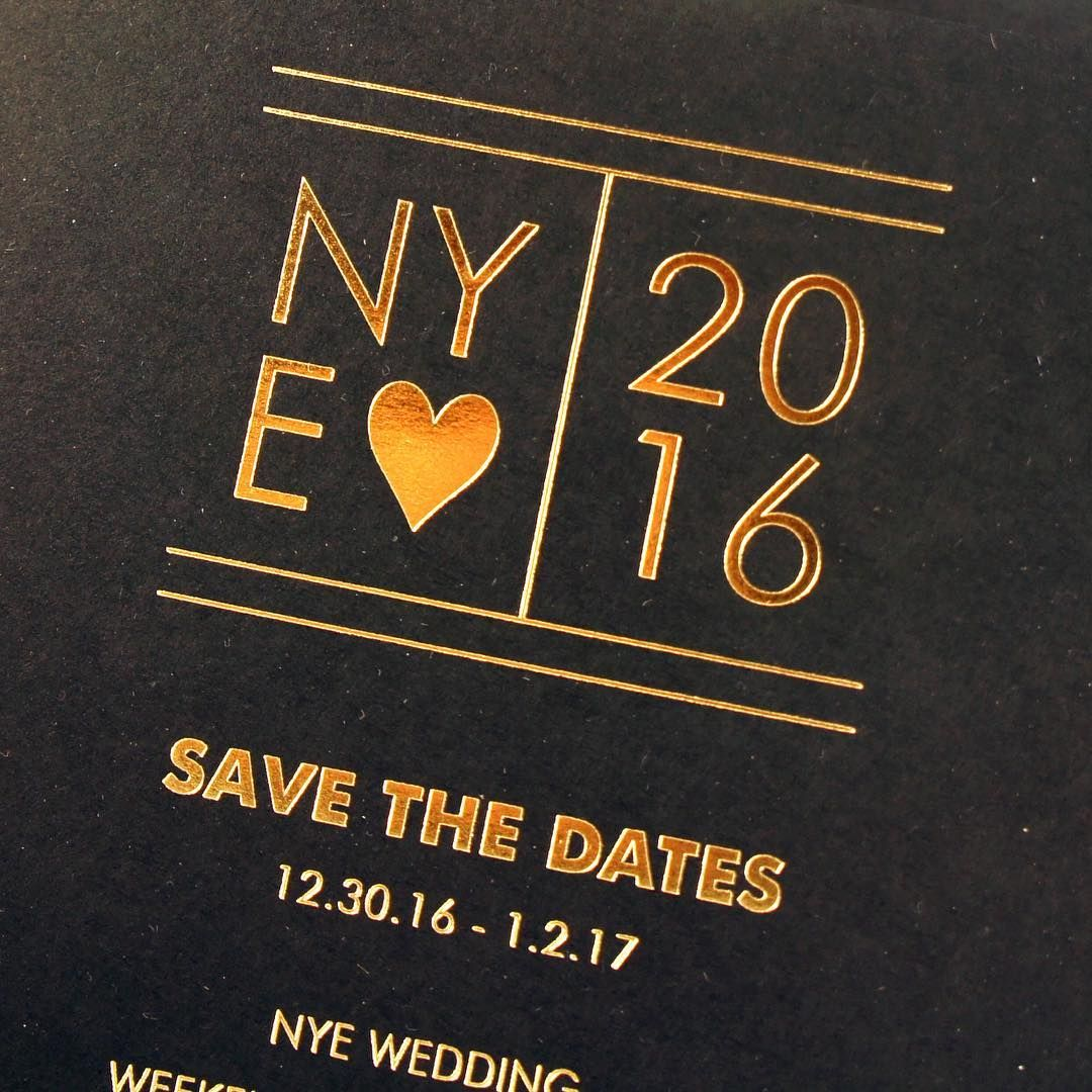 New Years Eve Wedding Save The Date Details Honey Paper Confetti Goldfoil