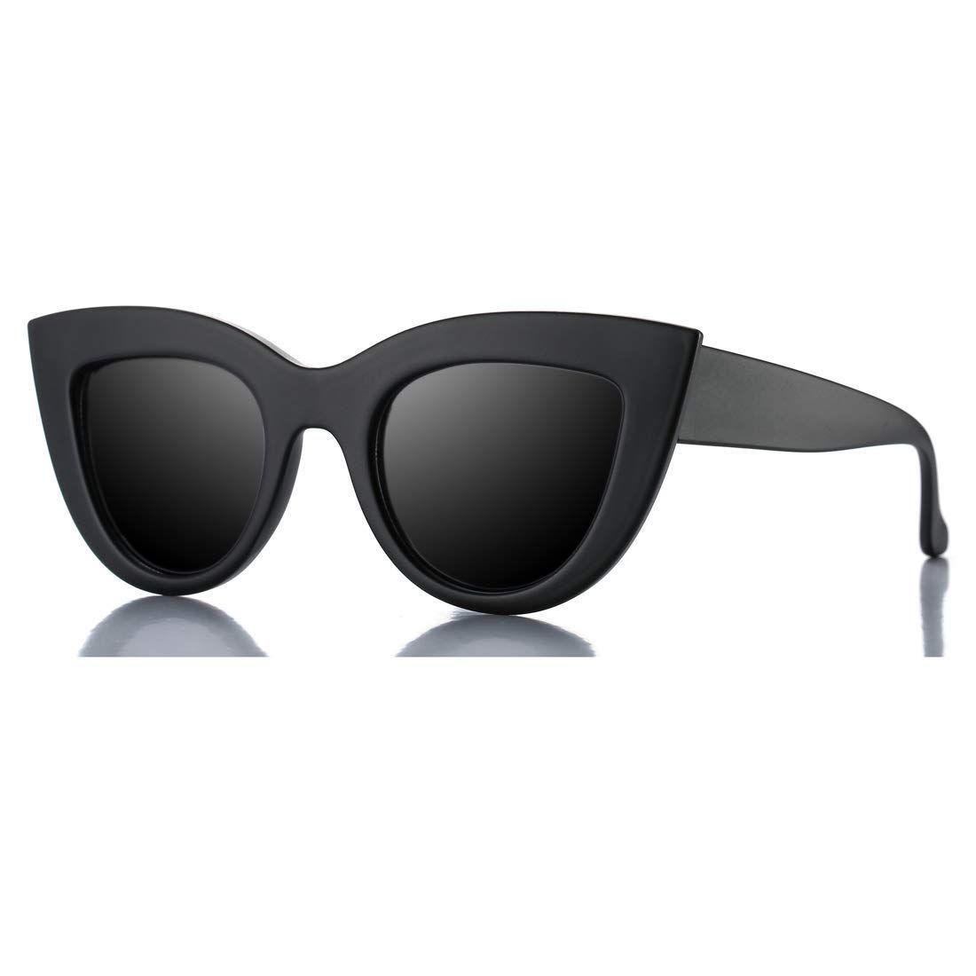 c37ced621fe Amazon.com  Retro Cateye Sunglasses for Women Fashion Mirror UV400  Protection Cat Eye Sun Glasses (Matte Black Frame Black Lens)  Shoes