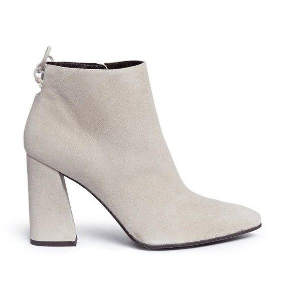 Stuart Weitzman 'Grandiose' suede ankle boots (£415) ❤ liked on Polyvore featuring shoes, boots, ankle booties, grey, gray suede booties, stuart weitzman boots, chunky heel ankle boots, suede ankle boots and grey suede boots