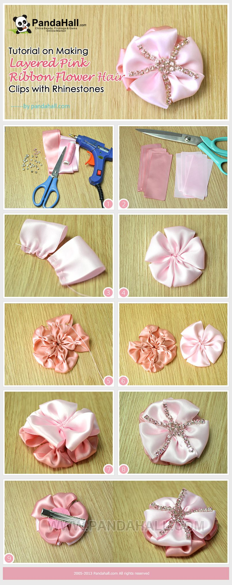 Tutorial On Making Layered Pink Ribbon Flower Hair Clips With