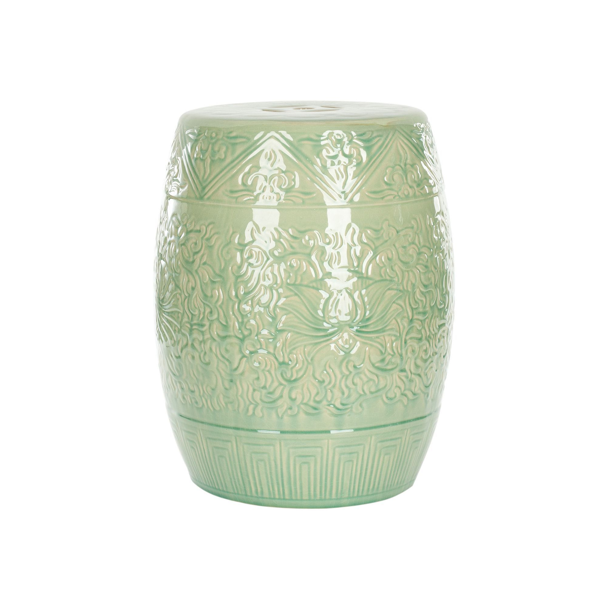 Outdoor Safavieh Lotus Ceramic Garden Stool, Green