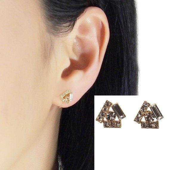 6461ec5e7 Triangle Swarovski Clip On Stud Earrings, Pink Rhinestone Crystal Invisible  Clip On Earrings, Non Pi