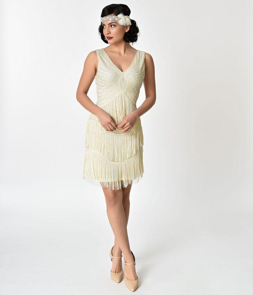 Unique Vintage 1920s Ivory Silver Beaded Renee Fringe Cocktail Dress Cocktail Dress Vintage Dresses Flapper Girl Dress [ 1023 x 879 Pixel ]