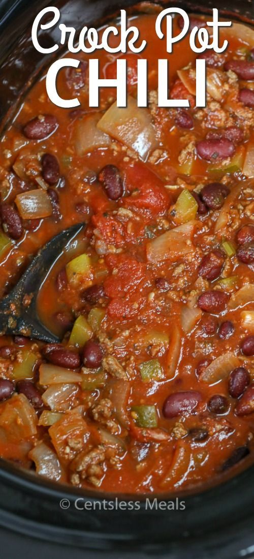 Slow Cooker Chili will become a go-to recipe for even the busiest of families! Ground beef, onions, tomatoes, beans and seasonings are combined together to create a delicious and easy crockpot meal.  via @centslessdeals