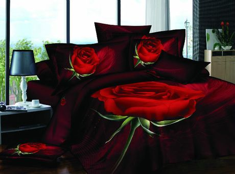 Red Roses Black Queen King Size 3d Bedding Sets Duvet Cover Quilt
