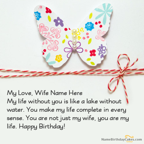 Write Name On Butterfly Wife Birthday Card Picture Wishes
