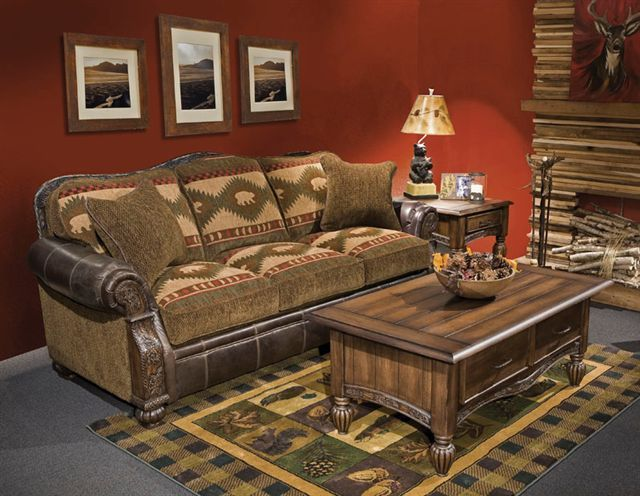 Comfortable Rustic Sofa With Carved Wood Accents On The Arm And Curve Of  The Sofa.