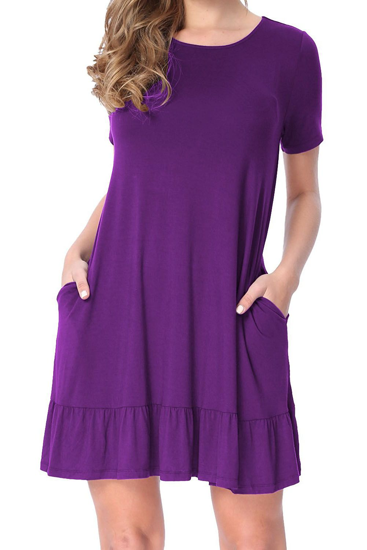 Purple Short Sleeve Draped Hemline Casual Shirt Dress - Women s ... b8af4f3cc
