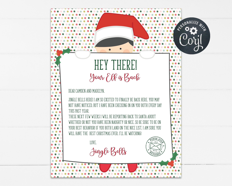 Custom Elf Return Letter for Christmas, Editable Elf is