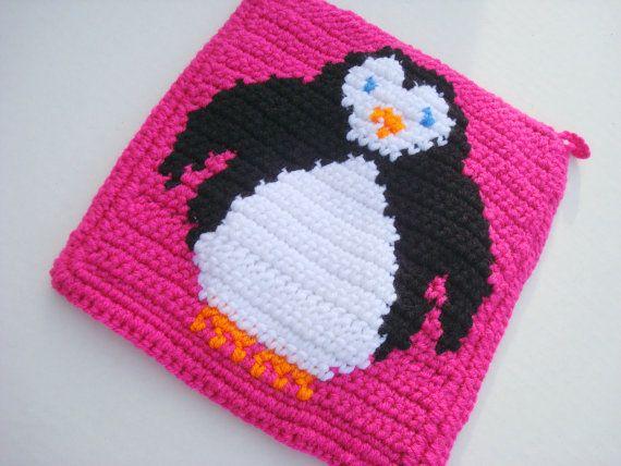 Pink Penguin Pot Holder, Potholder, Crochet Potholder, Crocheted ...