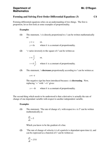 Forming And Solving First Order Differential Equations Notes 3