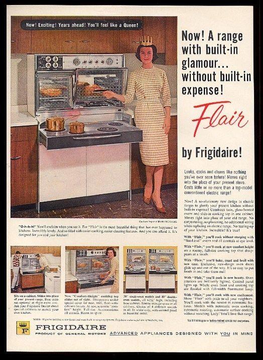 1960 Frigidaire Flair Range Double Oven Pull Out Cooktop 4 Photo Vintage Ad Vintage Stoves Vintage Appliances Retro Kitchen