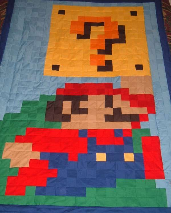 Geektastic Quilts Quilts Mario Quilt Pixel Quilting