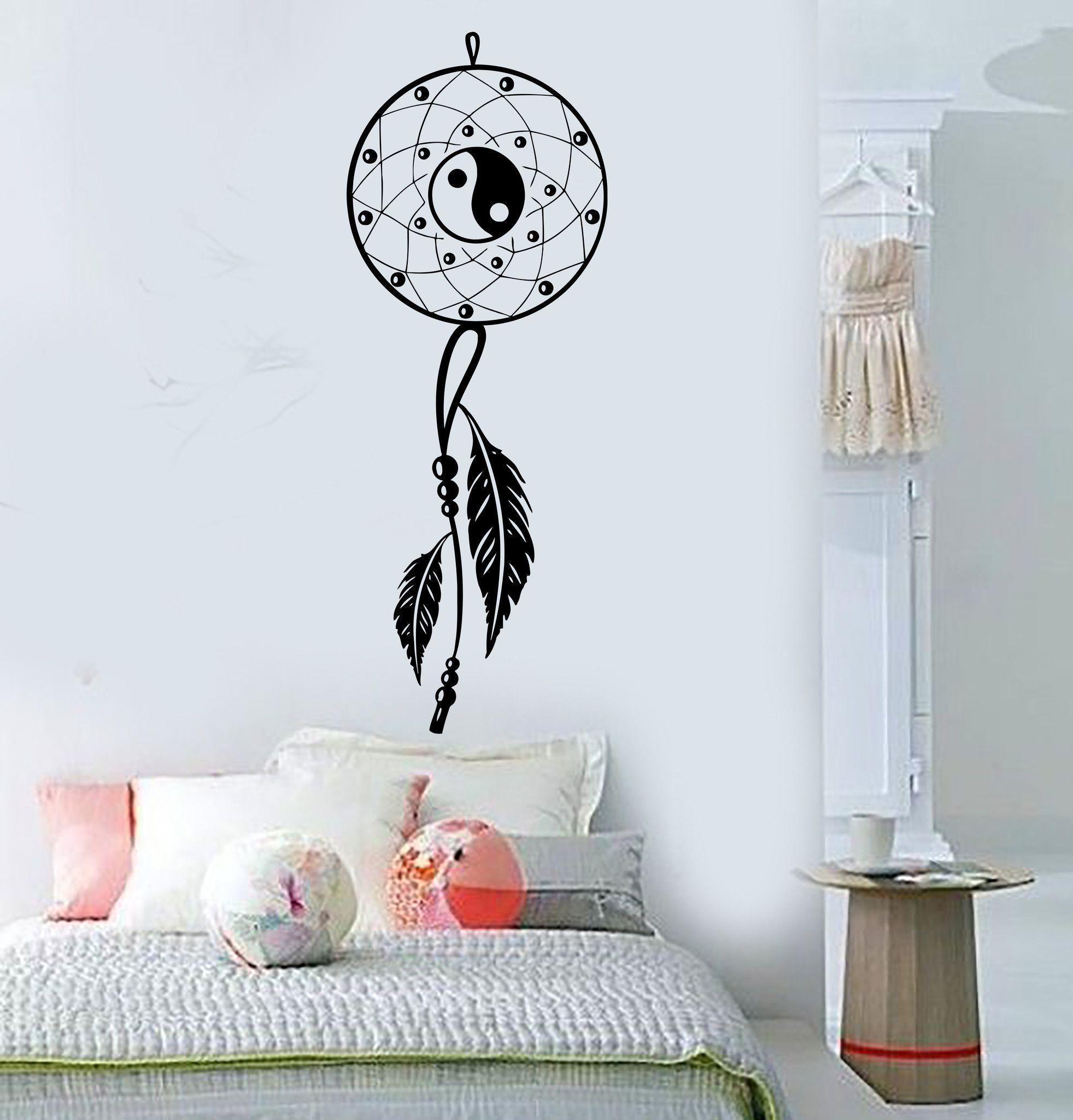 Vinyl wall decal dream catcher bedroom yin yang feathers stickers vinyl wall decal dream catcher bedroom yin yang feathers stickers 400ig amipublicfo Gallery