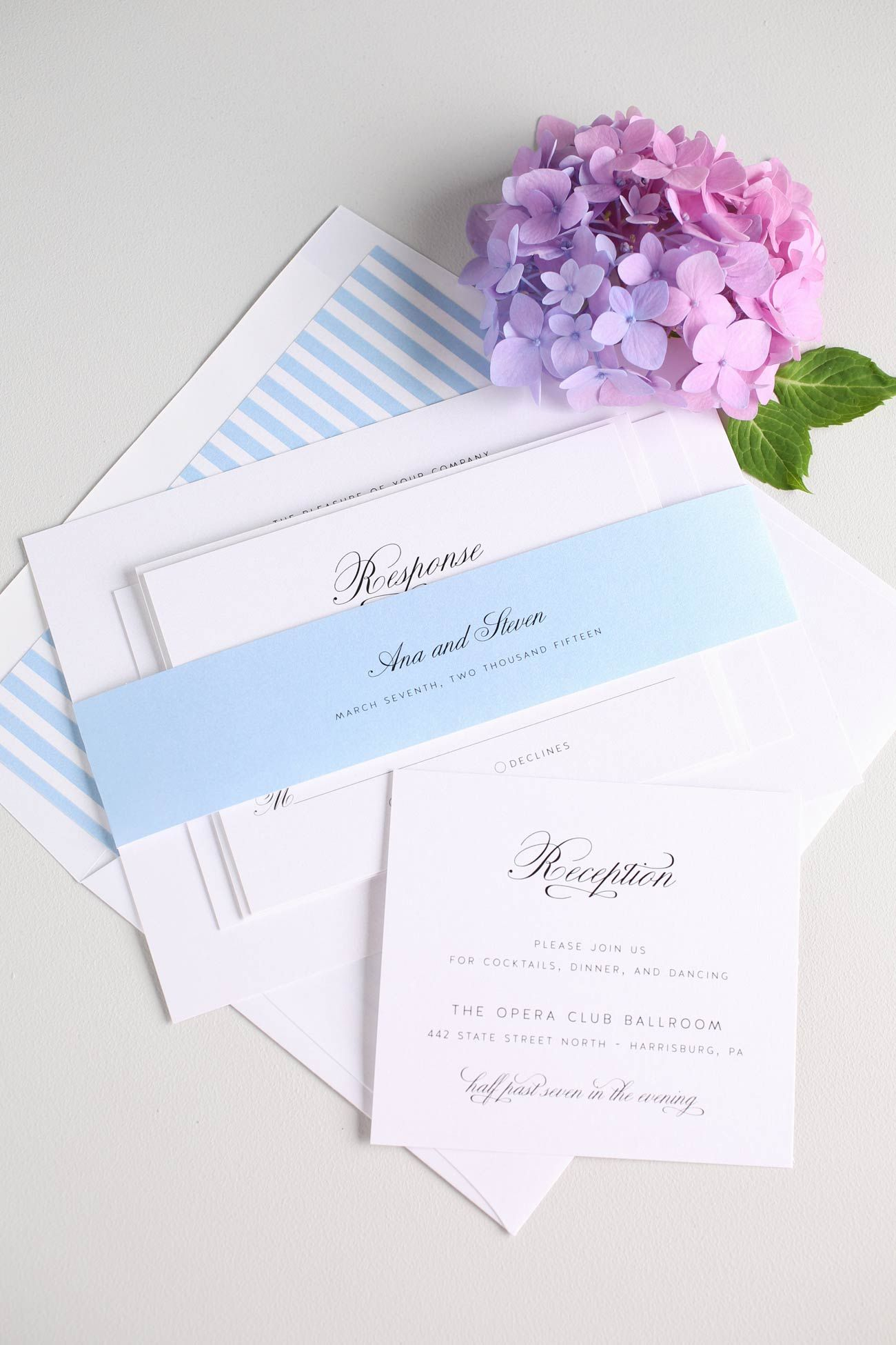 Vintage and Romantic Sky Blue Wedding Invitations with a Striped Envelope Liner | 1940s