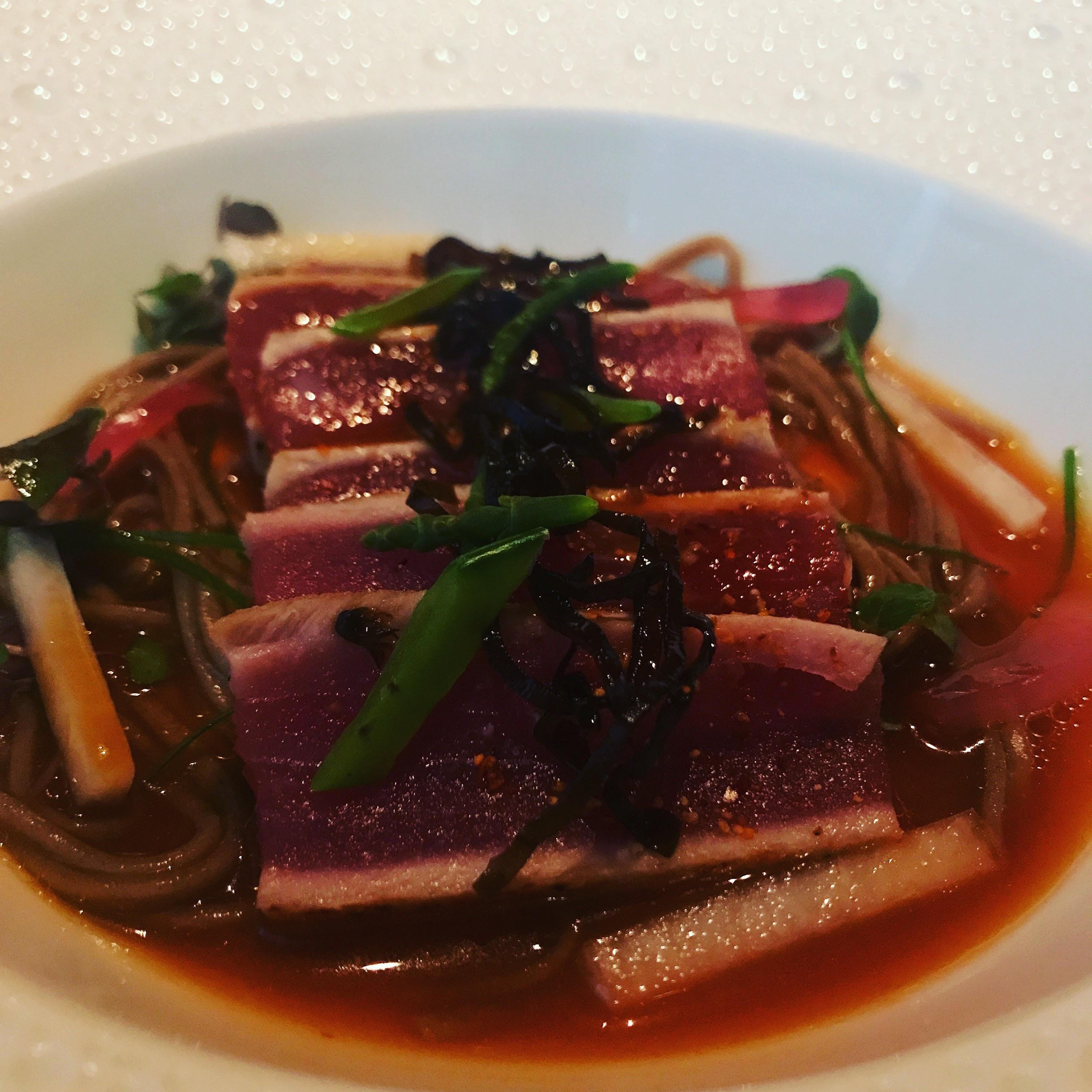 [I ate] Seared Yellowfin Tuna; Soba Noodles Kombu Confit Yuzu Dashi (le Bernardin)
