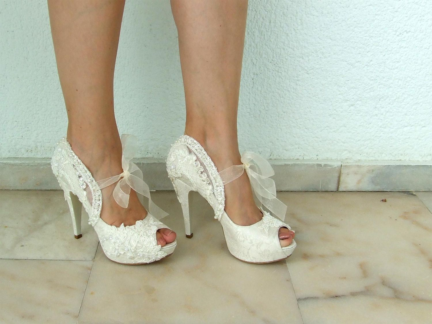 """Embroidered Lace Bridal Shoes with Pearls in Ivory 5""""Heels Peep"""