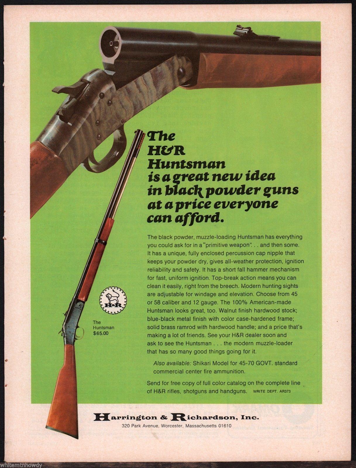 1973 Harrington Richardson Huntsman Ad Other Collectibles At Gunbroker Com Black Powder Guns Guns Print Ads