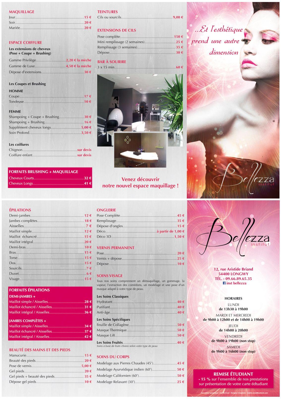 Institut Bellzza Institut De Beaute Depliant Tarifaire 2014 Institut De Beaute Salon De Beaute Brushing Homme