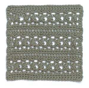 Stitchfinder: Crochet Block: Lacy Stripes Worked in one color, this block would add an interesting texture to an afghan, but it can be easily adapted to work in stripes of contrasting colors. For an interesting afghan edging, crochet one repeat.