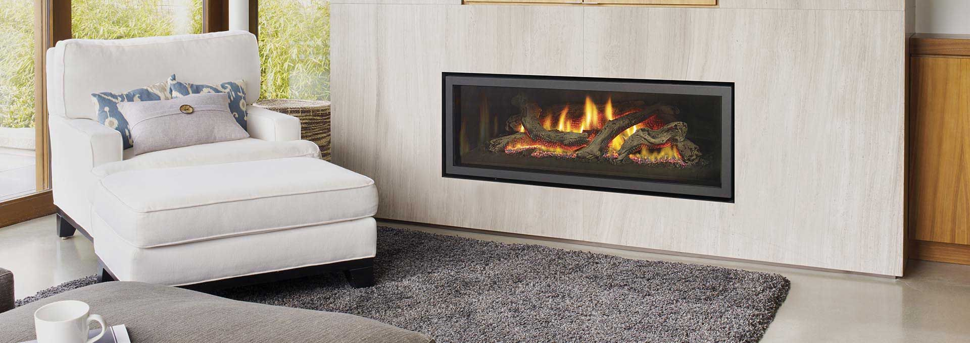 Greenfire Gf1500l Gas Fireplace Shown With Clean Edge Gas