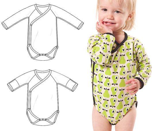 Kimono bodysuit pdf sewing pattern, photo tutorial, sizes Preemie to ...