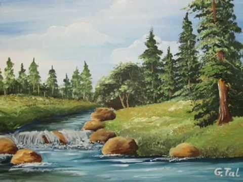 Part 2 - Acrylic Landscape - How To Paint Clouds - YouTube ...