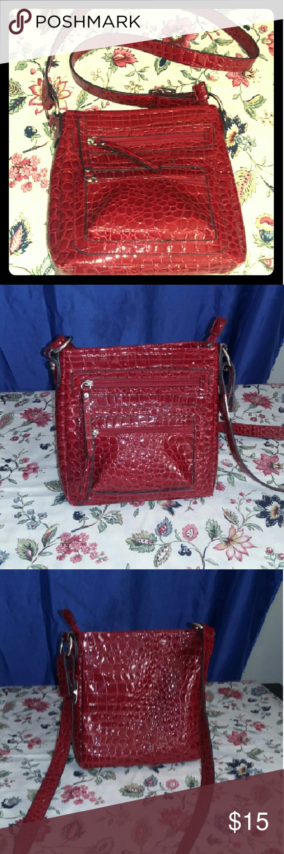 Crossbody Sm/Med Red Shiny Handbag NWOT A beautiful bright red crossbody purse by Bueno. One side has two separate pockets on the outside and the other side is completely flush no pockets on the inside there is a cell phone compartment and a zipper compartment. There are no stains or marks in this purse at all. The strap is adjustable and it has never been moved. This purse is in pristine condition. And I'm guessing it's patent leather or a shiny vinyl material. There is no tag that says…