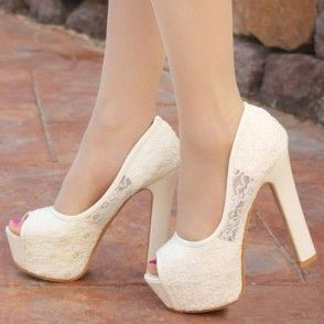 Gorgeous Elegant Lace Spliced Solid Color Peep-toe High-heeled Party Shoes