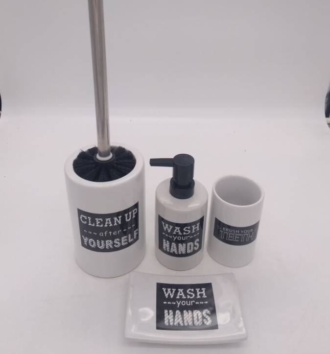 Bathroom Set Accessory Soap Lotion Dispenser Dish Toothbrush Toilet Brush Holder Tumbler Bottle New Products