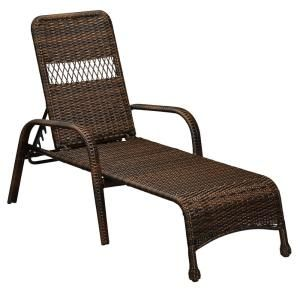 Hampton Bay Mix And Match Brown Wicker Outdoor Lounge Chaise 65